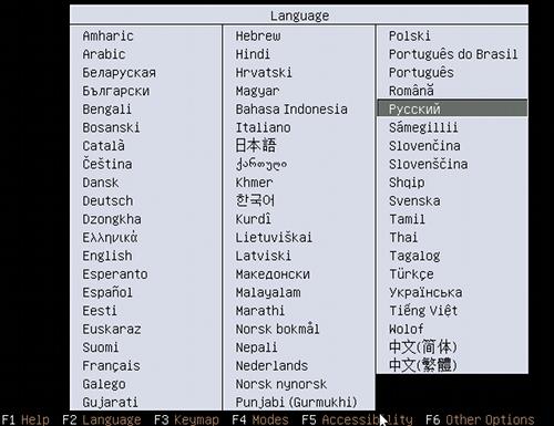 Меню выбора языка меню установщика