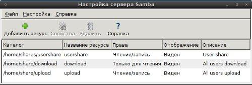 Управление Samba через графический интерфейс